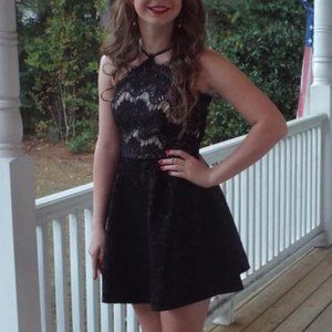 Black Lace Homecoming Formal Dress